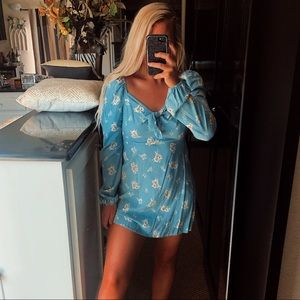 Blue floral front tie puff long sleeve mini dress